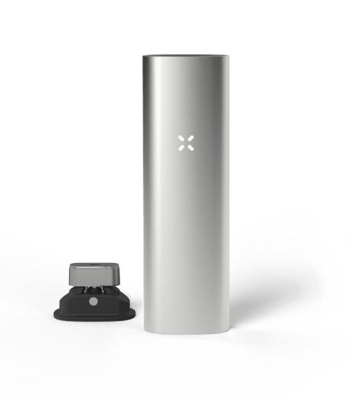 Silver coloured PAX 3 dry herb vape kit weed pen