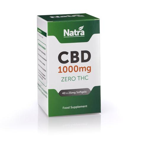 Natra CBD soft gel capsules 1000mg